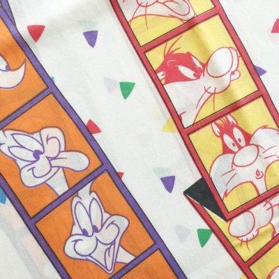 画像2: ビンテージ ワーナー・ブラザーズ キャラクター百面相 ツインサイズ ボックスシーツ 米国製