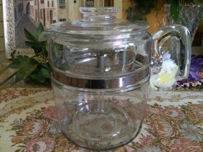 画像1: パイレックス フレームウェア  9カップ・パーコレーター ガラスバスケット&ポンプ付フルセット