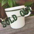 sold パイレックス ミルクグラス レストランウエア ダークグリーンバンド マグカップ