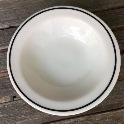 画像1: アンカーホッキング ミルクグラス・レストランウェア ブラック・ライン シリアル(デザート)ボウル
