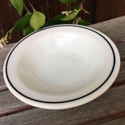 画像2: アンカーホッキング ミルクグラス・レストランウェア ブラック・ライン シリアル(デザート)ボウル