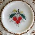 画像1: ウェストモーランド ミルクグラス ビーズエッジ 手描きフルーツ サラダプレート チェリー その2 (1)