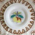 ウェストモーランド ミルクグラス ビーズエッジ 手描きフルーツ ブレッド&バタープレート ピーチ