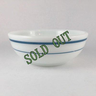 画像1: sold パイレックス ミルクグラス レストランウエア ブルーバンド・シリーズ ボウル