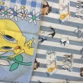ワーナーブラザース ルーニーチューン トゥイーティー&バックスバニー ツインサイズ ビンテージフラットシーツ&枕カバー 2点セット
