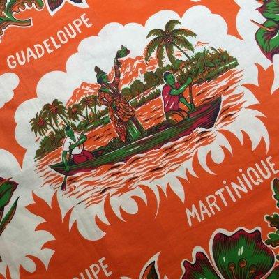 画像2: トロピカル オレンジ・カラー クロス・生地