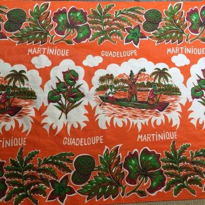 画像1: トロピカル オレンジ・カラー クロス・生地