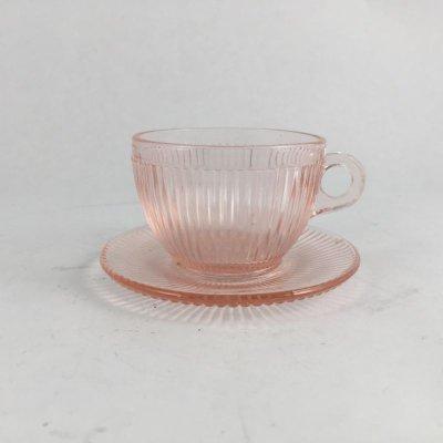 画像1: ジャネットグラス 子供用おもちゃ カップ&ソーサー ピンク・ホームスパン 1939~1949