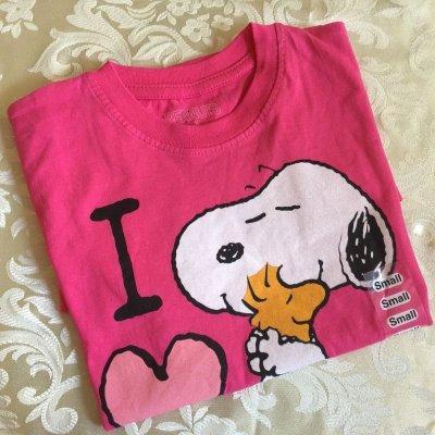 画像2: 新品タグ付き  Tシャツ スヌーピー「2015年 アイ・ラブ・ボストン」ピンク ガールズS  2015年