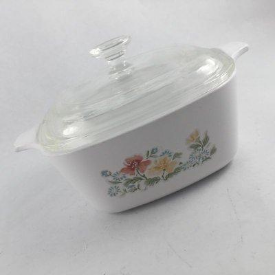 画像1: コーニングウエア 花柄 超耐熱ガラス食器パイロセラム ミニキャセロール 蓋付 700ml