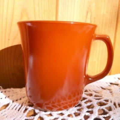 画像1: パイレックス ミルクグラス カラーマグ バーンオレンジ(赤茶)
