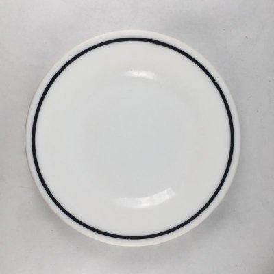画像1: アンカーホッキング ミルクグラス レストランウエア ブラック・ライン シリーズ デザートプレート