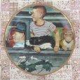 画像1: ノーマン・ロックウェル おでかけ(1947年)  少年と愛犬の飾り絵皿 (1)