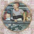 ノーマン・ロックウェル おでかけ(1947年)  少年と愛犬の飾り絵皿