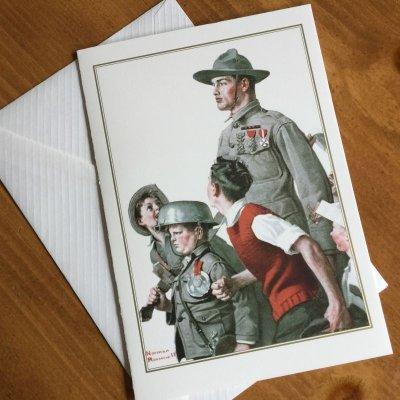 画像1: ノーマン・ロックウェル 1919年作品「英雄帰還」 2002年新品未使用ブランク・グリーティングカード