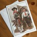 ノーマン・ロックウェル 1917年作品「少年、身長測定す」 2002年新品未使用ブランク・グリーティングカード