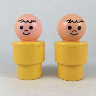 画像1: ビンテージ フィッシャープライス イエローボディ人形 2pc 1974 一部難あり