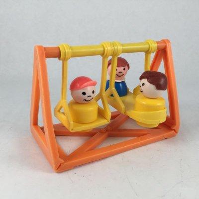 画像1: ビンテージ フィシャープライス ブランコで遊ぶ3人の子供達 4pc セット
