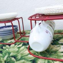 他の写真1: ビンテージ食器オーガナイザー 赤