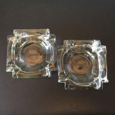 画像2: ビンテージ灰皿  ヘビー・クリスタルグラス クリアー 2個セット