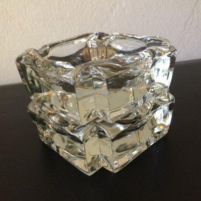画像1: ビンテージ灰皿  ヘビー・クリスタルグラス クリアー 2個セット