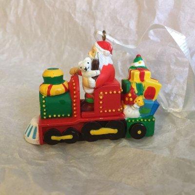 画像1: コカコーラ サンタとポーラーベア クリスマスオーナメント クリスマストレイン 2001年