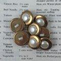 パール+ゴールドトリム ボタン(小)5pc セット