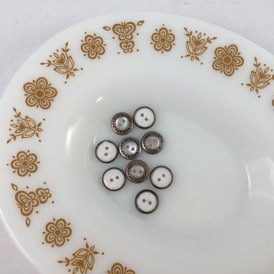 画像1: ビンテージ メタルエッジ ホワイト ボタン9PC セット