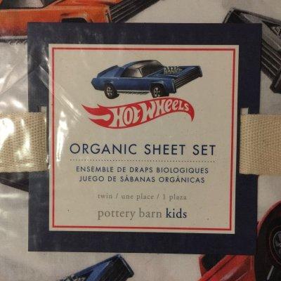 画像2: ホットウィール ポッタリーバーン新品未開封シーツ2枚+枕カバー 3点セット 100%オーガニックコットン ツインサイズ