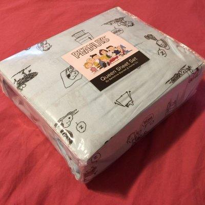 画像2: スヌーピーと仲間たち 新品未開封シーツ2枚+枕カバー2枚 4点セット クイーンサイズ 水色