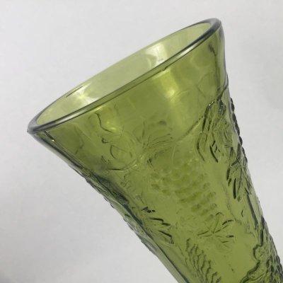 画像2: インディアナグラス オリーブグリーン ハーベストグレープ 花瓶(小)