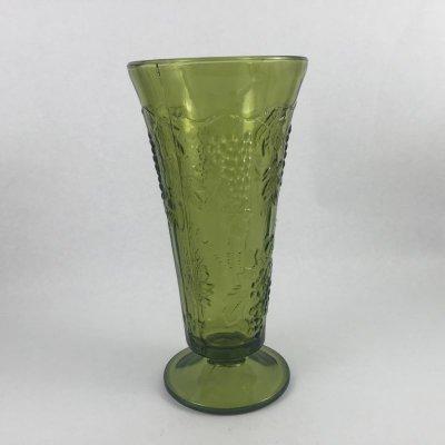 画像1: インディアナグラス オリーブグリーン ハーベストグレープ 花瓶(小)