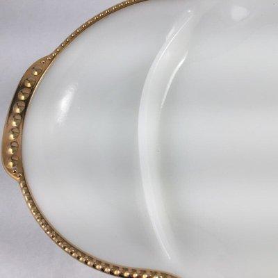 画像2: ファイヤーキング ミルクグラス 22Kゴールドトリム デバイデッド・レリッシュ・トレイ