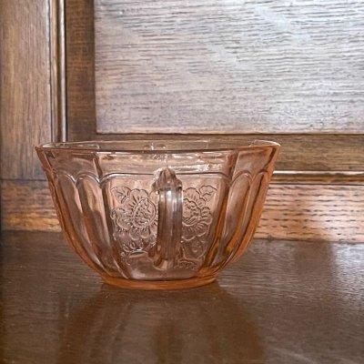 画像2: アンカーホッキング メイフェア・オープンローズ ピンク ディプレッション グラス ティーカップ 1930-1937
