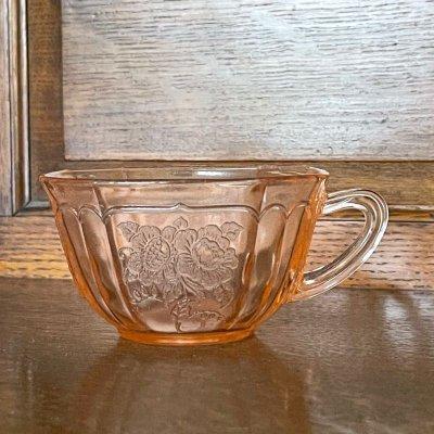 画像1: アンカーホッキング メイフェア・オープンローズ ピンク ディプレッション グラス ティーカップ 1930-1937