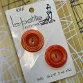 ビンテージ オレンジグルグル ボタン 2pc セット